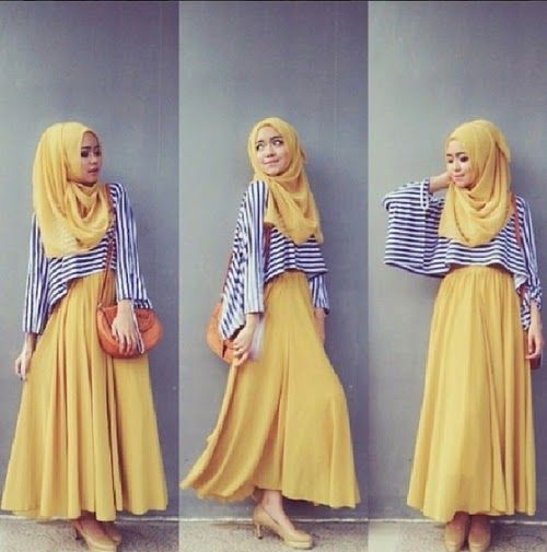 Lovely, bright outfit with hijab; great silhouette! Looks comfy & modern.