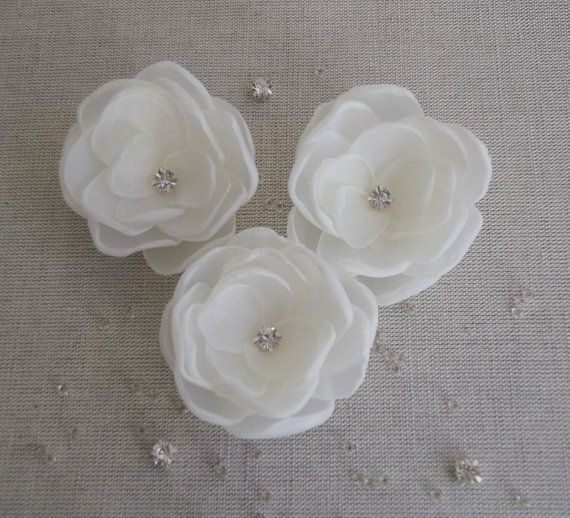 Small Ivory Flowers in handmade Weddings Bridal hair ornament bobby pin clip dress sash accessory Bridesmaids Flower girls gift, Set of 3 on Etsy, $18.00