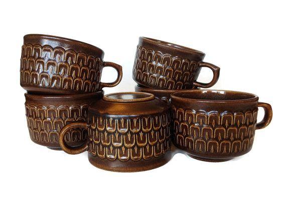 Wedgwood Pennine Teacups Brown Mugs Mid by NoNameCatVintage, $40.00