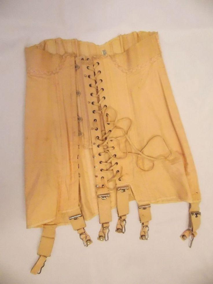 1940's Gossard Lace-Up Corset Girdle by ofcorsetsvintage on Etsy