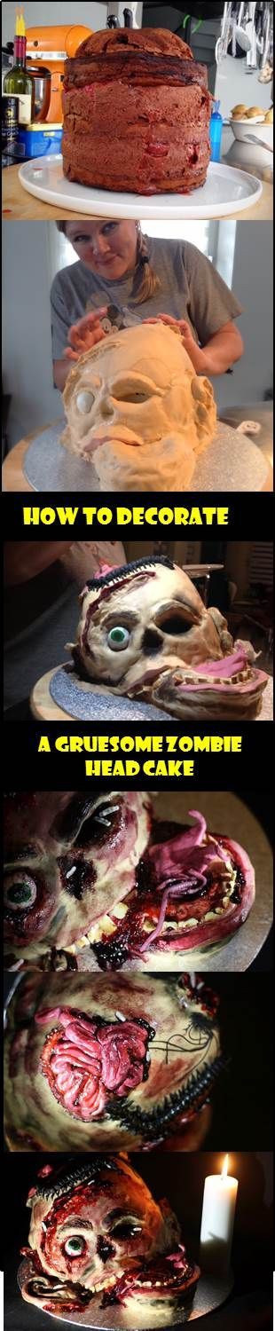 Tutorial for a Zombie head cake