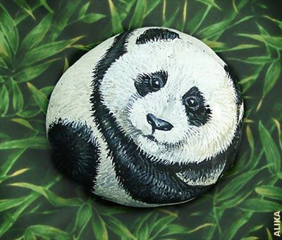 Hand painted rock. Baby Panda. by Alika-Rikki, via Flickr