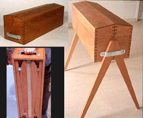 """There's next to no information on this thing and the image quality sucks, but I had to write this up because I've never seen a furniture piece like this before. It combines an old-school toolbox with an older design I'd seen for a knock-down sawhorse, to collectively create a """"portable field trunk."""""""