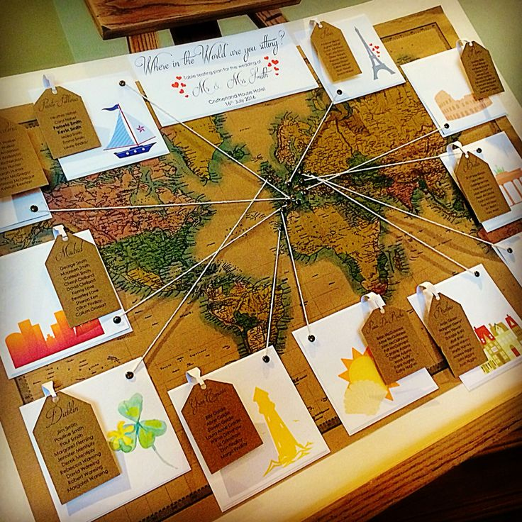 World Map table seating plan for weddings by made marvellous