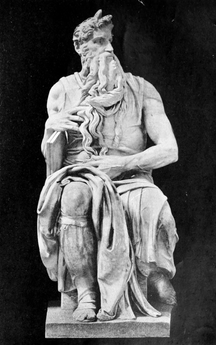 "Michael Angelo, 1912 - Moses (Tomb of Julius II)I believe it reads Moses face ""shone"", misinterpreted as Moses had horns, love this sculpture though."