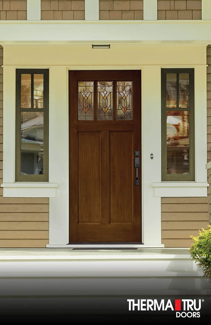 Beautiful Therma Tru Classic Craft American Style Collection Fiberglass Door With  Arborwatch Decorative Glass.