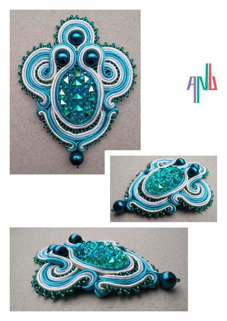 Handmade ANU Jewelry Soutache Pendant Aqua