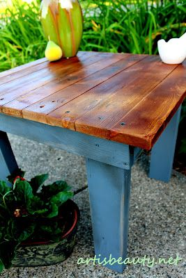 cute little homemade table...maybe from dads old butcher block table