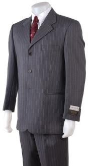 SKU#ZPA63 Men's 2/3/4 Button Style Charcoal Gray Pinstripe Light Weight On Sale $99 Mens Discount Suits By Style and Quality 3 Button Suits On Sale $99