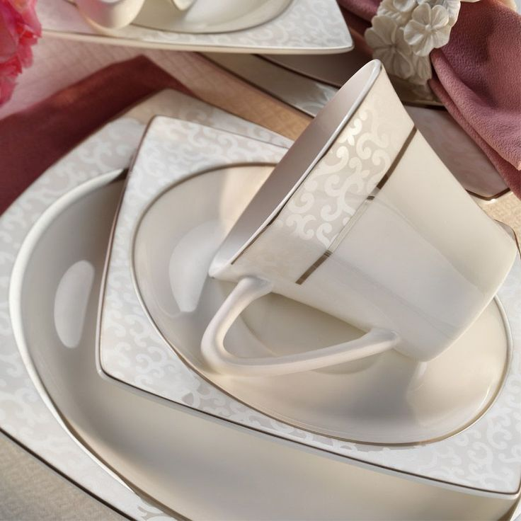 Kütahya Porselen 70102 Aliza Bone 83 Parça Desenli Yemek Takımı ::