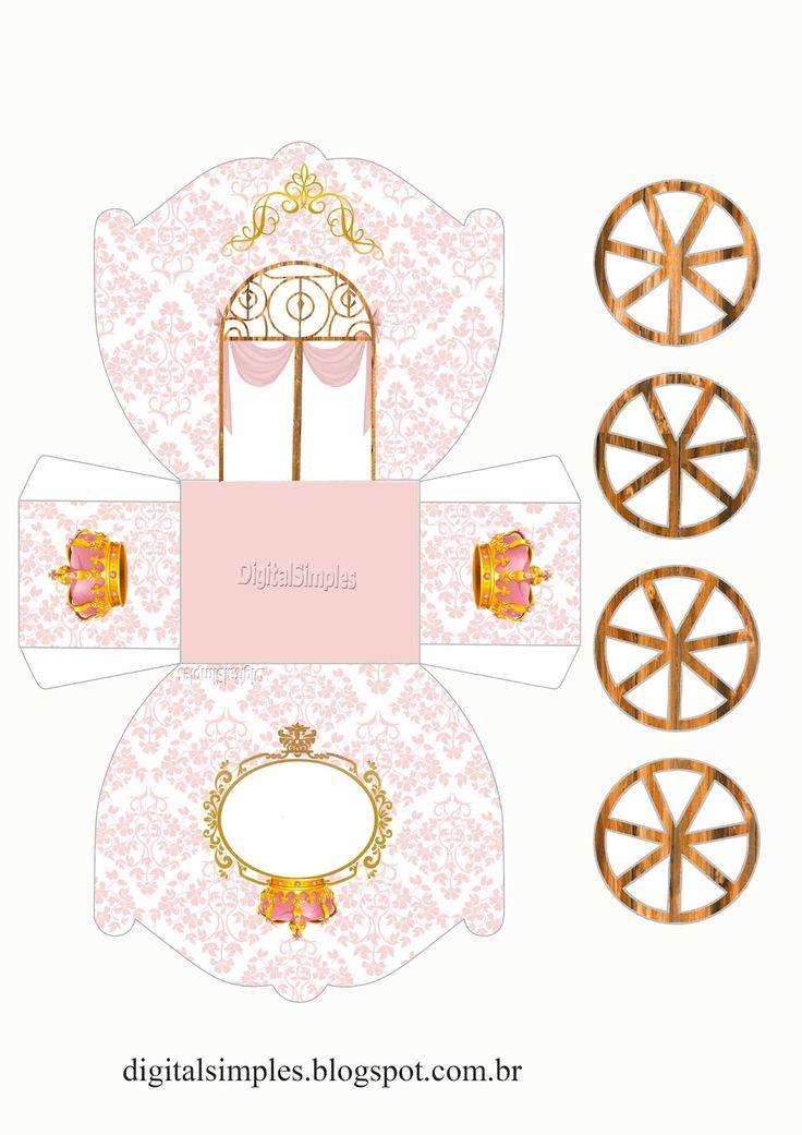 Crown in Gold and Pink: Princess Carriage Shaped Free Printable Boxes.