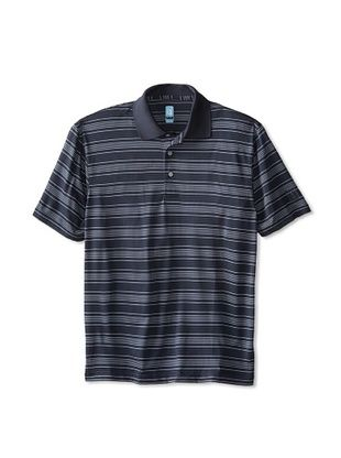 56% OFF PGA Tour Men's Short Sleeve 3 Color Fine Line Striped Polo (Graphite)