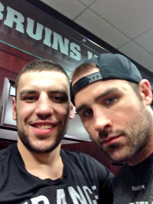Milan Lucic Johnny Boychuk Boston Bruins. We'll miss ya Boychuk!
