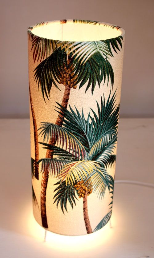 Fabric palm tree lamp light. I can totally make that! It's Hawaii time all the time in MY living room. Aloha and mahalo.