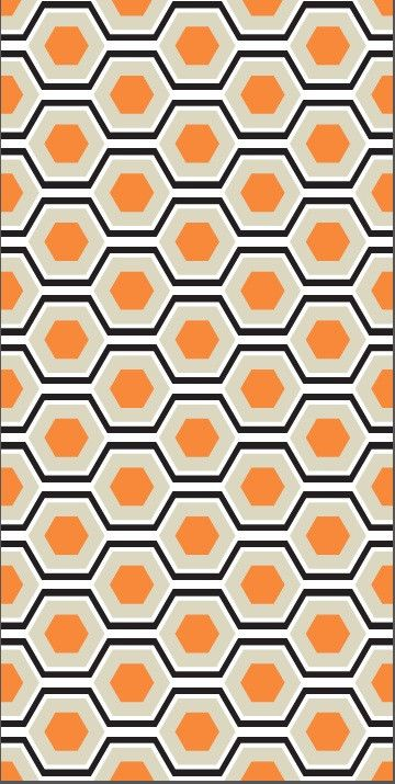 "Panels measure two feet by four feet. VIntage inspired hexagon print in orange and black. Scale of hexagon height 5.5""."