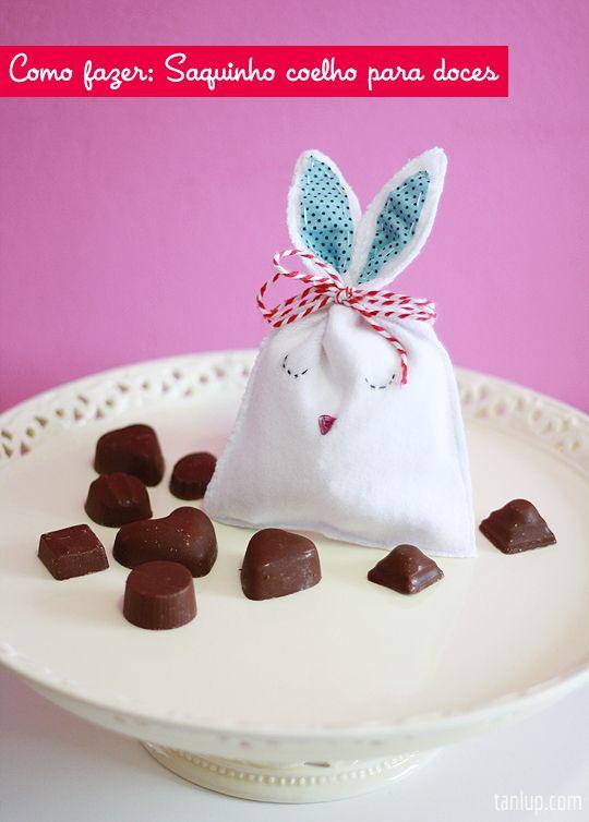 Saquinho coelho para guardar os chocolates da Páscoa :)