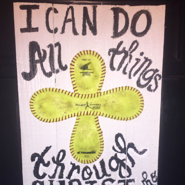 Softball decor. Wood pallet sign painted white with scripture and salvaged softball cross. Measures 17x11 1/2