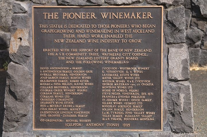 Henderson Heritage Trail B14. The Pioneer Winemaker plaque at Alderman Drive, Henderson, West Auckland, NZ.