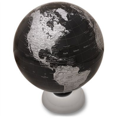 This globe makes a stylish focal piece in any room. The globe takes a modern twist on the classic globe, and is held to its chrome base with magnets. The globe itself is finished with polished black water, and chrome coloured countries. #IndigoHome