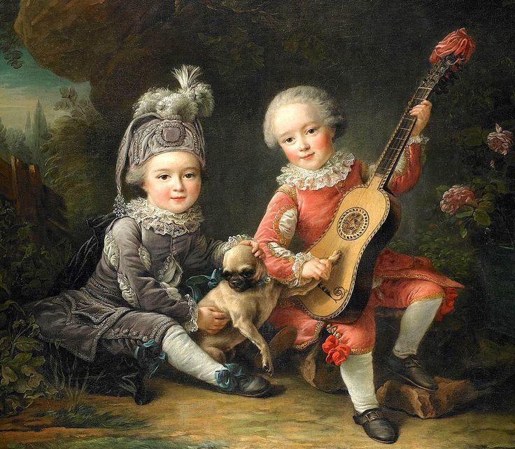 1761 François-Hubert Drouais (French artist, 1727–1775) Children of the Marquis de Béthune Playing with a Dog