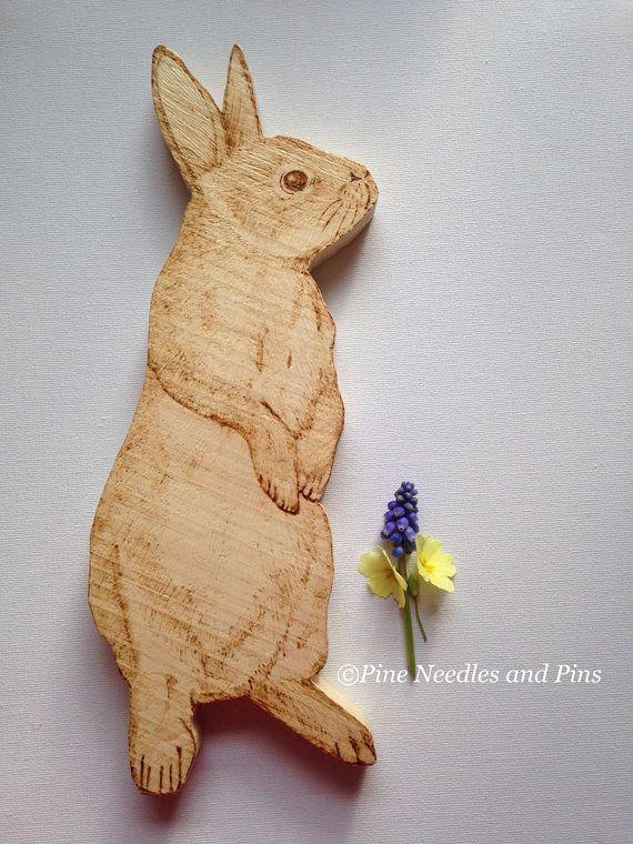 Bunny wall hanging, rabbit wall decor, bunny rabbit art, wooden bunny rabbit, pyrography art