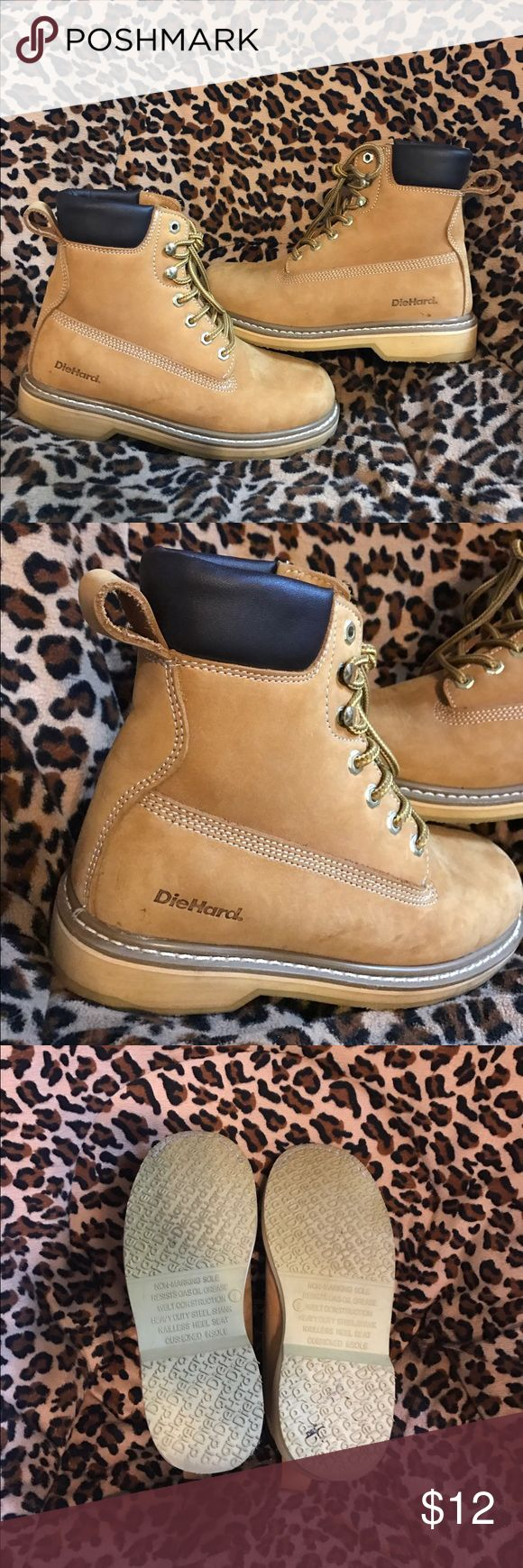 Timberland Inspired Work Boots Timberland lookalike boots by the brand diehard! Only worn 3 or 4 times! Very light wear, still in amazing shape! They are a men's size 6 which is a women's size 8. Originally purchased for $79.99 Timberland Shoes Winter & Rain Boots