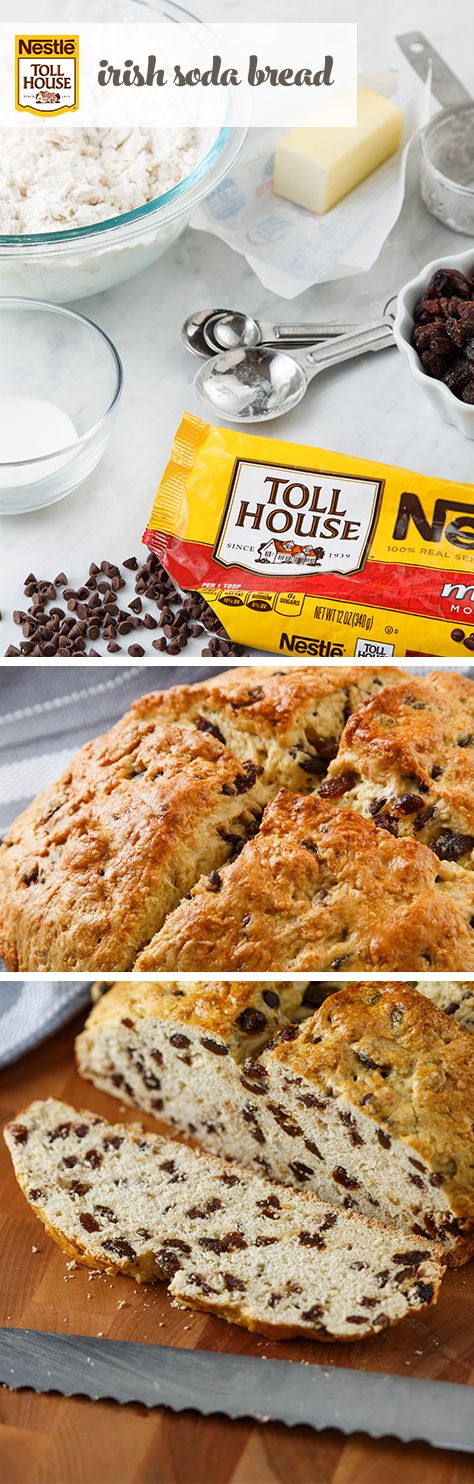 """This Irish Soda Bread recipe will be your go-to St. Patrick's Day breakfast. With the delicious flavors of raisins and chocolate, you'll be lucky if you have leftovers! Don't forget to score the top of the bread in the shape of an """"X"""" to let the fairies out, according to Irish legend. Baking tip: Try substituting our NESTLE® TOLL HOUSE® Dark Chocolate Morsels to give this recipe an extra boost of rich, dark chocolate flavor."""
