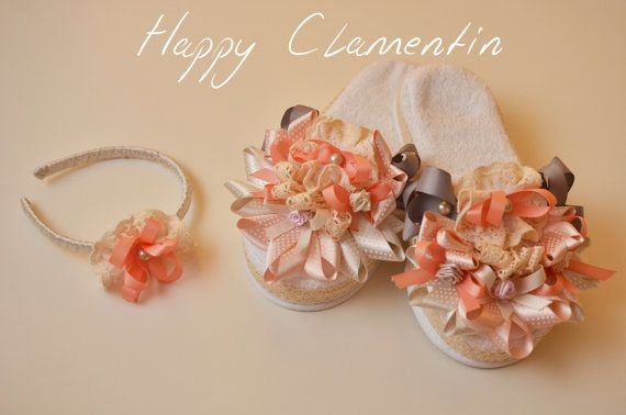New mother slippers and headbandtowel by Happyclamentin on Etsy