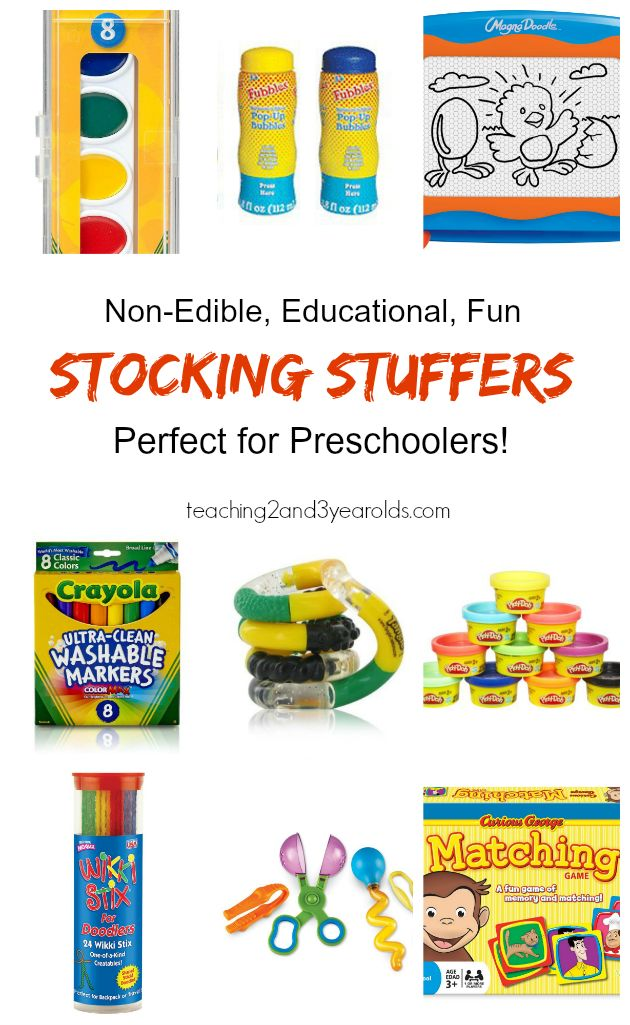 A collection of Christmas stocking stuffers for toddlers and preschoolers that are non-edible, educational and fun!