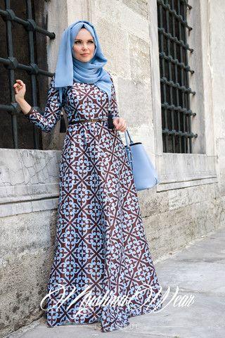 Muslima Wear 2015 Beautiful Dress in Baby Blue & Choco