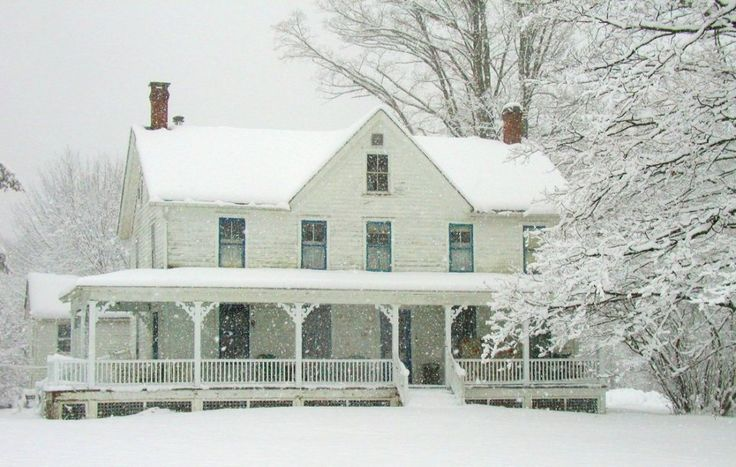 SMP/farmhouse with a lovely, big porch. AND Snow!  Like the house my folks lived in when I was born.