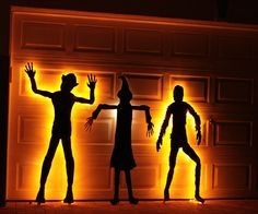 silhouette monsters halloween garage
