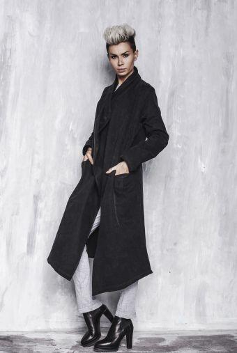 PŁASZCZ SECRET DŁUGI - płaszcz, długi, czarny