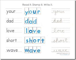 read it, stamp it, write it: Kindergarten