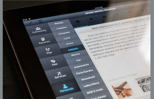"Craigslist Premium iPad UI design by Vadim Sherbakov – might this be kind of ""timeless UI""?"