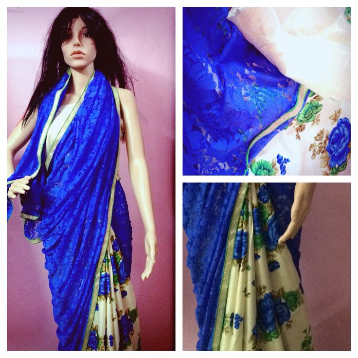 Blue net and cotton floral saree No COD ❌ Bank transfer only✅ DM for price   #saree #sareelover #Ethniclover #Cotton #Designer #ethnic #nimeetelegance #Instock