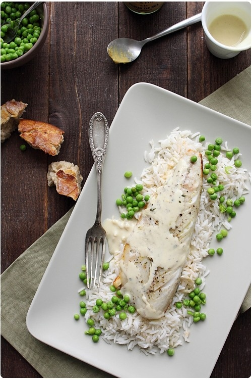 Filet de maquereau au four, sauce moutarde et estragon
