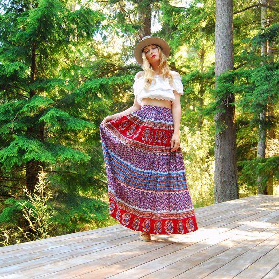Vintage Hippie Skirt, S M Red Cotton Indian Skirt, India Batik Boho Skirt, Red Ethnic Bohemian Peasant Skirt, SUMMER Festival Gypsy Skirt by SurfandtheCity