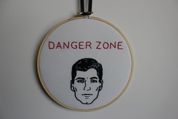 Danger Zone Archer Quote Hand Embroidery Hoop Fan Art. Ready