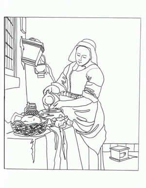"Click and scroll down to the ""V's"" to print out coloring pages based on works by Vermeer."