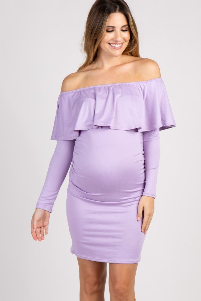 2a41680e413 Lavender Ruffle Trim Off Shoulder Fitted Maternity Dress