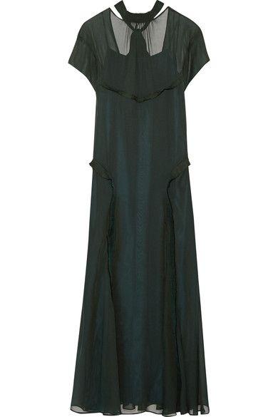 CEDRIC CHARLIER Open-back ruffle-trimmed chiffon maxi dress. #cedriccharlier #cloth #dresses