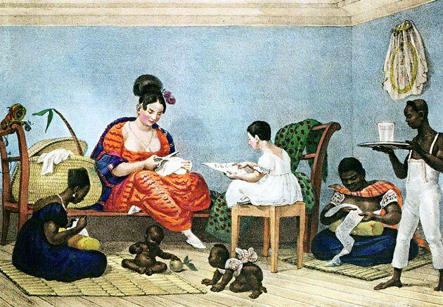 Uma senhora brasileira em seu lar, c. 1823, litografia aquarelada à mão, 16 x 22 cm.