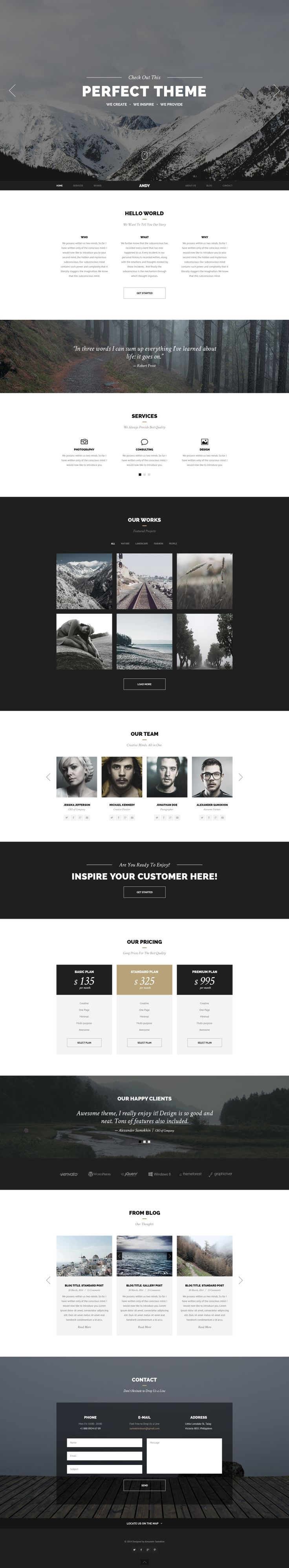 Andy is an elegant and stylish onepage PSD with a focus on clean, subtle design elements. Perfectly suits for photographers, freelancers, design agencies, creative persons and for landing pages as well. Andy packed with dark and light versions of the homepage, single work preview, blog page and shortcodes page.  http://themeforest.net/item/andy-elegant-creative-minimal-style-onepage-psd/7351873?ref=Toxicus