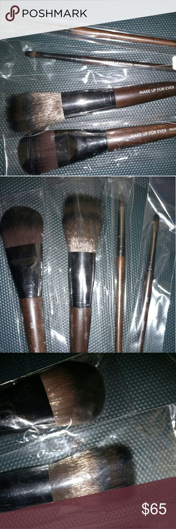 4 Make Up For Ever Brushes Brand new/ never used make up for ever makeup brushes. Four sizes: 122 Straight & Wavy, 108 Straight, 302 Straight, 400 Straight. No Trading. Makeup Forever Makeup Brushes & Tools