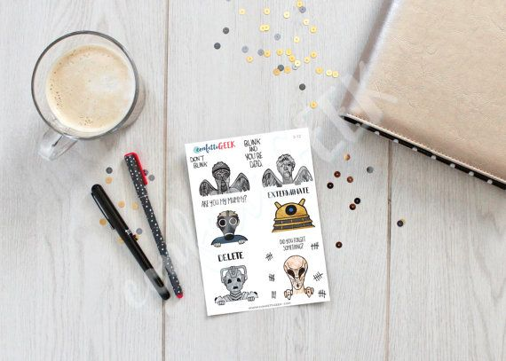 Doctor Who peek-a-boo stickers to decorate your by ConfettiGeek