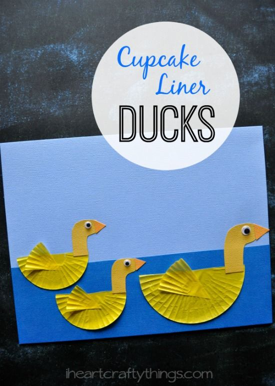 Cupcake Liner Duck Craft for Kids made from cupcake liners. Cute spring kids craft from iheartcraftythings.com