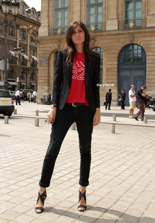 Emmanuelle Alt, black, red sporty tee, via maydele