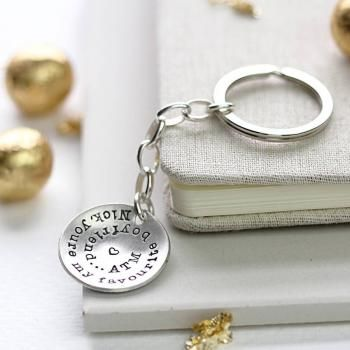 Personalised Silver Keyring - A charmingly handmade, hand-stamped personalised Silver Keyring, stamped with your own personal message. You can have whatever you like on your keyring up to 40 letters, including spaces, and we can stamp some special characters too.