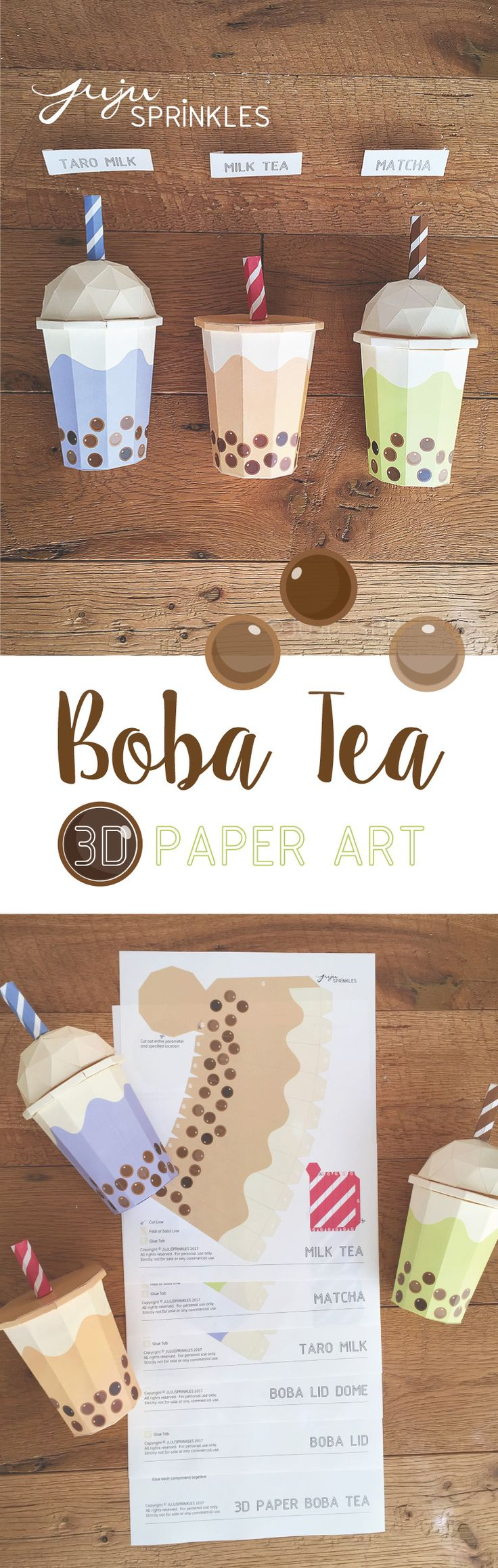 Juju Sprinkles - boba bubble tea 3D paper art